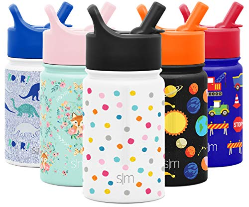 Simple Modern 10oz Summit Kids Water Bottle Thermos with Straw Lid - Dishwasher Safe Vacuum Insulated Double Wall Tumbler Travel Cup 18/8 Stainless Steel -Polka Play