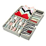 Zonyon Drawer Divider, Foldable Fabric Closet Organizer,Dresser Organizer,Storage Box,Room Organization for Underware,Bra,Ties,Belts,Socks,Tank Tops, Lingerie,Closet,Wardrobe,4 Sets, Grey