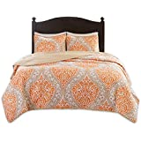 Comfort Spaces – Coco Mini Quilt Set - 2 Piece – Orange and Taupe– Printed Damask Pattern –Twin/Twin XL Size, Includes 1 Quilt, 1 Sham