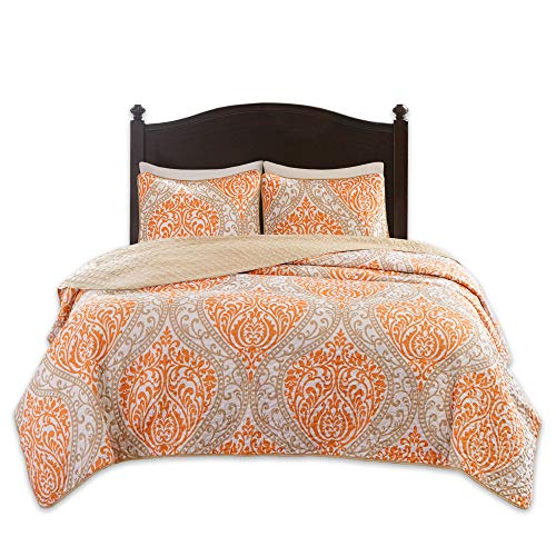 Comfort Spaces Coco 3 Piece Quilt Coverlet Bedspread Ultra Soft Printed Damask Pattern Hypoallergenic Bedding Set, Full/Queen, Orange - Taupe ()