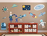Science Decorations//Kids Science Decals//Solar System Decals//Telescope Decal//Astronaut Decal//Alien Stickers - WDSET10055