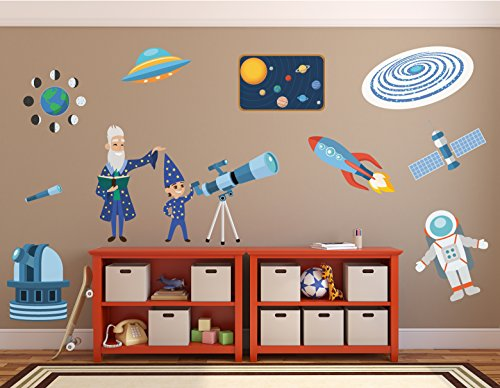 Science Decorations//Kids Science Decals//Solar System Decals//Telescope Decal//Astronaut Decal//Alien Stickers - WDSET10055 by Go Go Dragon
