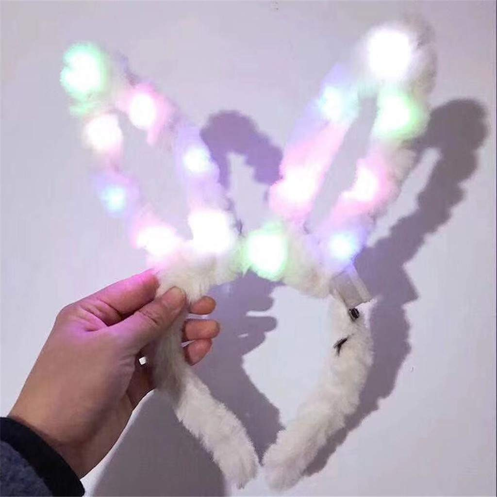 Led Bunny Headband Easter Head Boppers Light Up Plush Bunny Ears Headband Funny Easter Ears Costume Hairbands Party Props Accessories (White) by DaoAG - Easter Day (Image #2)