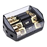 MagiDeal Universal 100A 4 Way Car Audio Fuse Block Distribution Holder Gold Plate