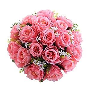 18 Head Artificial Silk Roses Flowers Bridal Bouquet Rose Home Outdoor Wedding Decor (F) 20