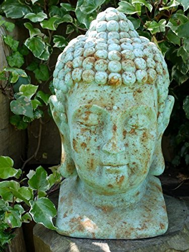 BUDDHA Head Stone Effect Garden Statue ~ Aged Antique Blue Height 50cm