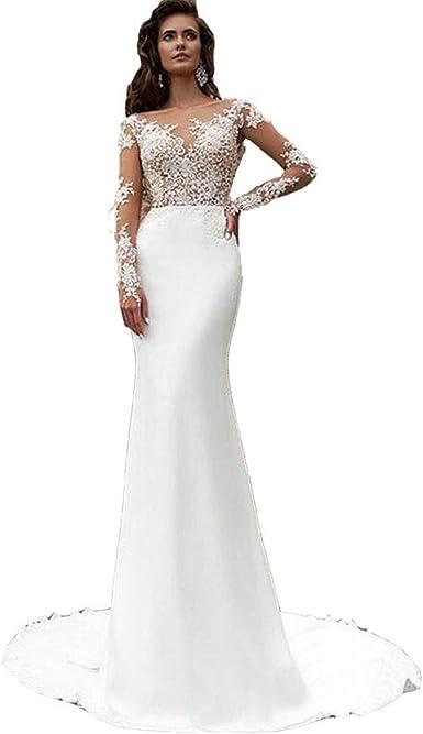 Amazon Com Seasail Mermaid Wedding Dresses Turkey 2019 Scoop Appliques White Lace Long Sleeve Bride Dress Custom Clothing,Wedding Short Royal Blue Bridesmaid Dresses