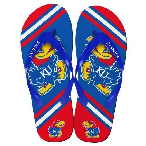 NCAA Collegiate Team Big Logo Unisex Flip Flop Beach Sandals - Choose Team (Kansas Jayhawks, Medium (9-10)) -