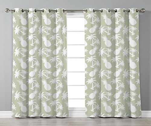 Thermal Insulated Blackout Grommet Window Curtains,Pineapple Decor,Silhouettes Coconut Palm Trees and Pineapples Floral Repeating Background Stylized Art,,2 Panel Set Window Drapes,for Living Room Bed ()