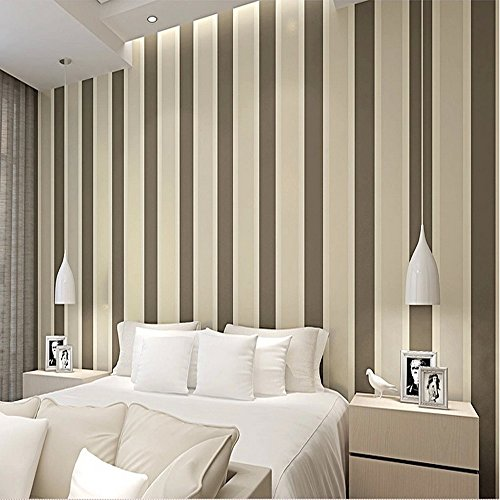 Modern Stripe Wallpaper (QIHANG Modern Minimalist Vertical Stripes Bedroom TV Background Non-woven Wallpaper Roll Coffee Color 0.53m10m=5.3SQM)