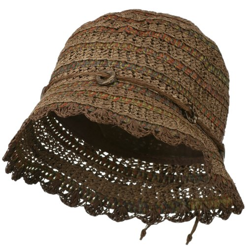 Women's Toyo Cloche Hat with Swirl Detail - Brown OSFM
