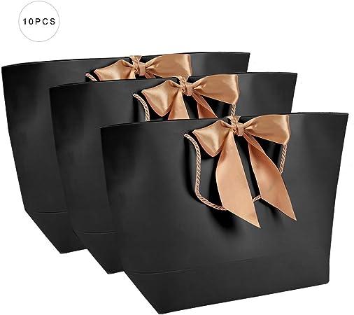 Bolsas de Papel Negras de 10pcs, Bolsas de Papel Simples, Bolsas de Papel de Regalo Decorativas, Bolsas de Papel de Regalo de cosméticos de Ropa, utilizadas para el Embalaje (4#): Amazon.es: Hogar