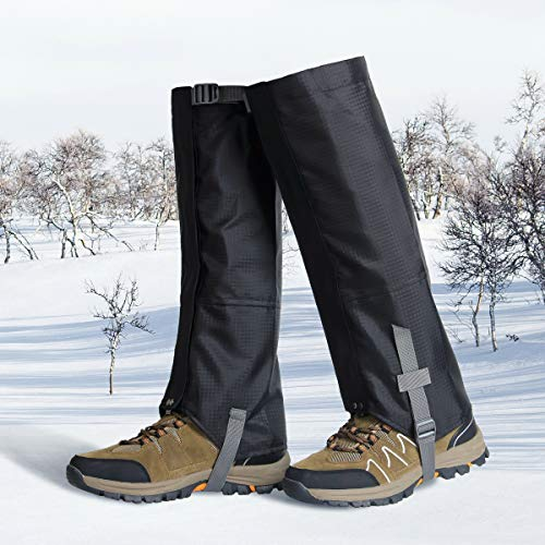 Xl1 Accessories - Tunity Leg Gaiters Waterproof Snow Gaiter Shoes Gaiters 600D Anti-Tear Oxford Cloth for Outdoor Hiking Walking Climbing Hunting(Black, XL-1)