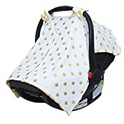 JLIKA Baby Car Seat Canopy Cover - Infant Canopy Cover for newborns infants babies girls boys best shower gift for carseats (White Gold Polka Dots)