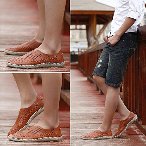 Hommes Cuir Chaussures Creuses Décontractées Chaussures pour en pour De pour HommesXIAOQI Hommes Sandales Cuir LIANGXIE Chaussures Grande Marche De Marron Sandales Taille en D'été ZwSp8x6Rn
