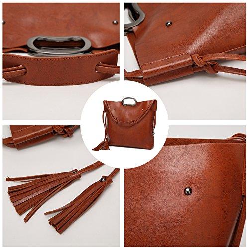 Dell'unità Pezzi Di Lavoro Vino Bag Crossbody Shopping Tote Rosso Coolives Due Elaborazione Tracolla Donne Signora Delle Cuoio 1txY0qxF
