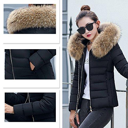 Estola Parka el Abrigo con invierno Court Negro para Elegante Chaqueta 2017 Mujer Capucha BAINASIQI Acolchada qvwBRR