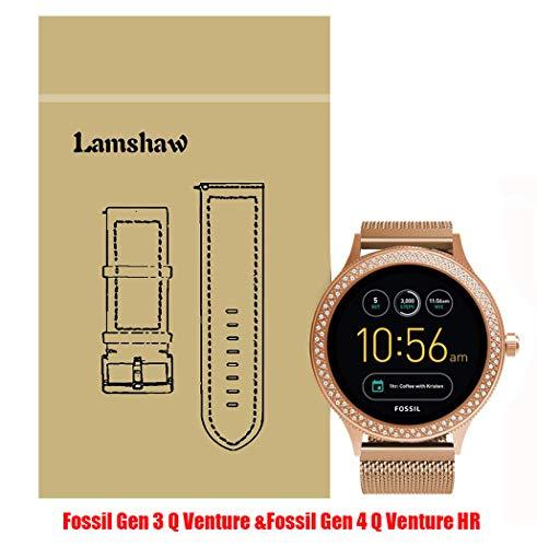 Lamshaw Smartwatch Band Fossil Q Venture/Fossil Gen 4 Q Venture HR, Milanese Metal Stainless Steel Mesh Replacement Strap GEN 3 SMARTWATCH - Q VENTURE (Rose - Bands Steel Fossil Stainless