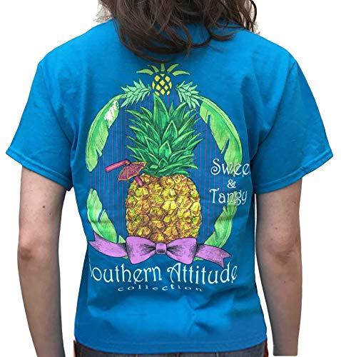 Southern Attitude Pineapple Sapphire Short Sleeve Shirt (Medium)