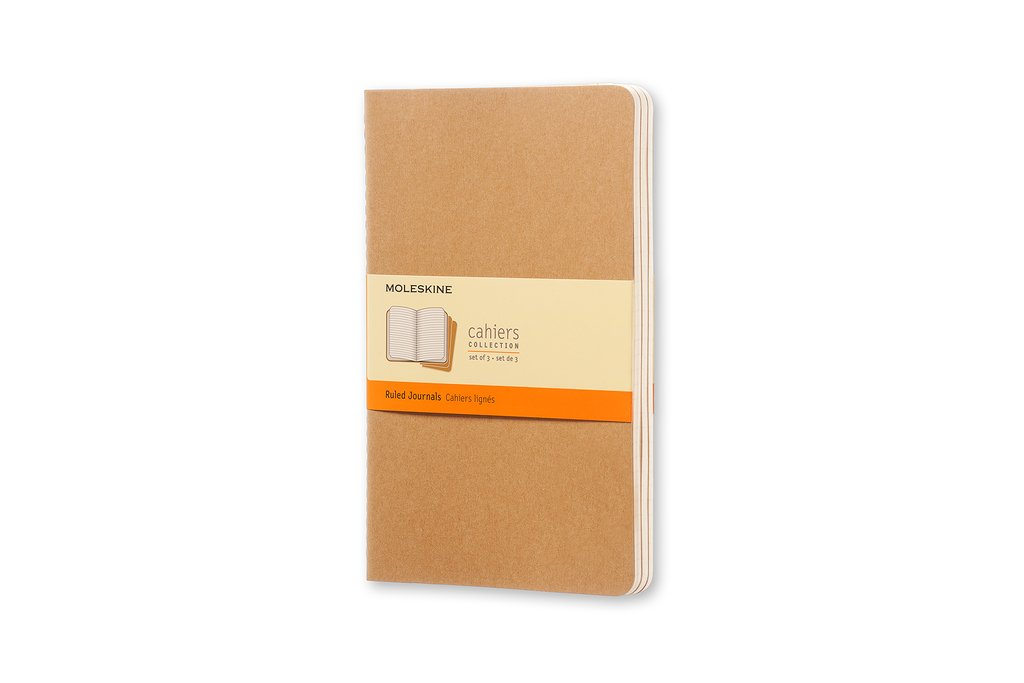 Moleskine Cahier Journal Large (5 x 8.25), Set of 3, Ruled Pages, Kraft Brown, Soft Cover Notebook for Writing, Sketching, Journaling Notebook for Use as Journal, Sketchbook, Composition Notebook