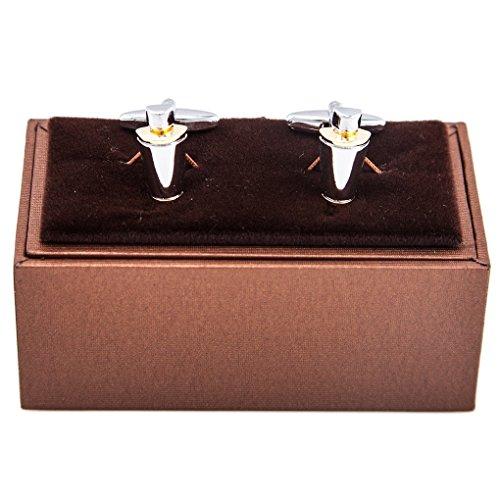 MRCUFF Martini Cocktail Shaker Mixed Drinks Bartender 2 Tone Pair Cufflinks in Presentation Gift Box & Polishing Cloth ()