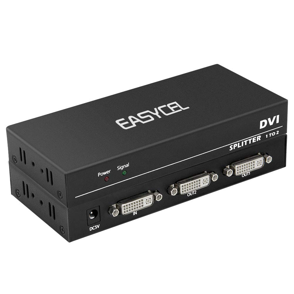 DVI 1x2 Splitter, Easycel 1 in 2 Out 2-Port DVI Distribution Duplicator Splitter, Supports Resolution up to 4K2K/30Hz, 3D, Cascade Connection(DVI-I Connector, Compatible with DVI-D)
