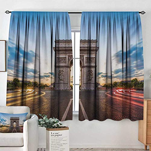 European Room Darkening Curtains Paris Famous Champs Elysees Avenue Historical Monument French Culture Panorama Decorative Curtains for Living Room 72