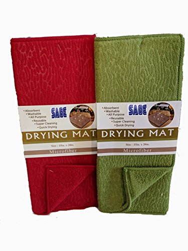 Sage Microfiber Dish Drying Mat for Home and Kitchen - 15x20 inches - 2 pack (Red-Green) by SAGE