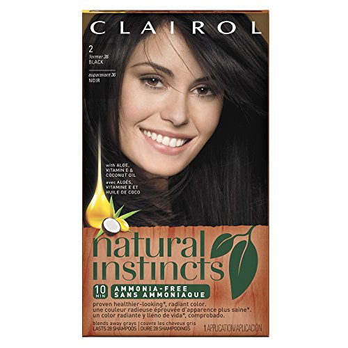 Clairol Natural Instincts, 2/36 Midnight Black, Semi-Permanent Hair Color, 1 Kit