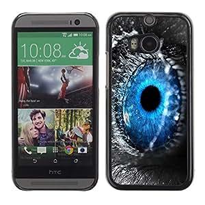 PC/Aluminum Funda Carcasa protectora para HTC One M8 Blue Eye Water Drop Macro Nature Grey / JUSTGO PHONE PROTECTOR