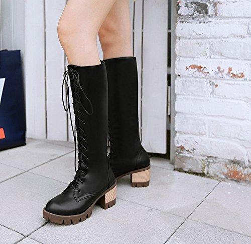 Mee Shoes Damen modern chunky heel mit Schnürsenkel langschaft Stiefel Schwarz