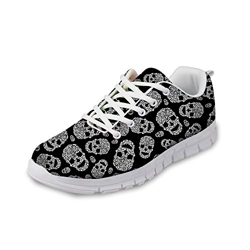 Skull Womens Black Casual Lightweight Nopersonality Running amp; Walking Sneakers Shoes Tennis 8TndTvq