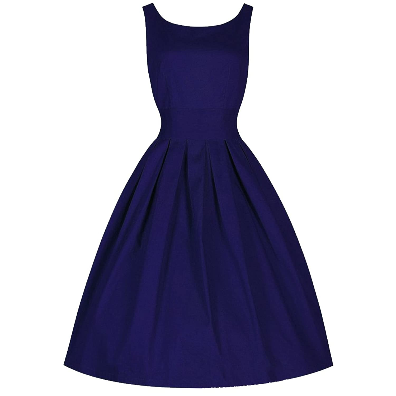 Partiss Damen Frauen U-Ausschnitt 60er Vintage Klassisch Elegant Franzoesisch Stil Schleife Aermellos Knielang Kleid