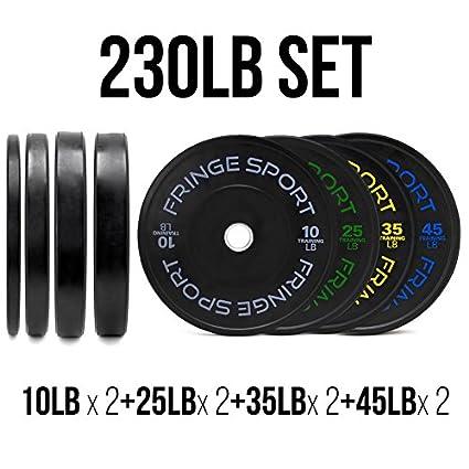 OneFitWonder 230lb Black Bumper Plates Set (10/25/35/45lb Pairs)  sc 1 st  Amazon.com & Amazon.com : OneFitWonder 230lb Black Bumper Plates Set (10/25/35 ...