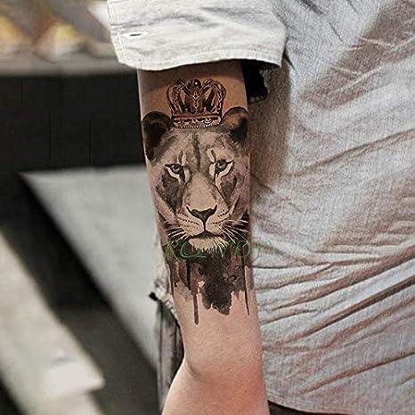 tzxdbh Impermeable Tatuaje Temporal Etiqueta Lion Queen Crown ...