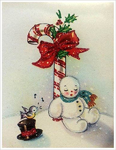 Amazon Com Set Of 3 Glittered Christmas Cards Candy Cane Snowman