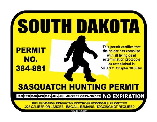 South Dakota Sasquatch Hunting Permit License Bigfoot Vinyl Sticker Decal