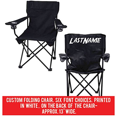 Custom Last Name Folding Chair- Black Camping Chair with Carry - Bag Chairs Custom