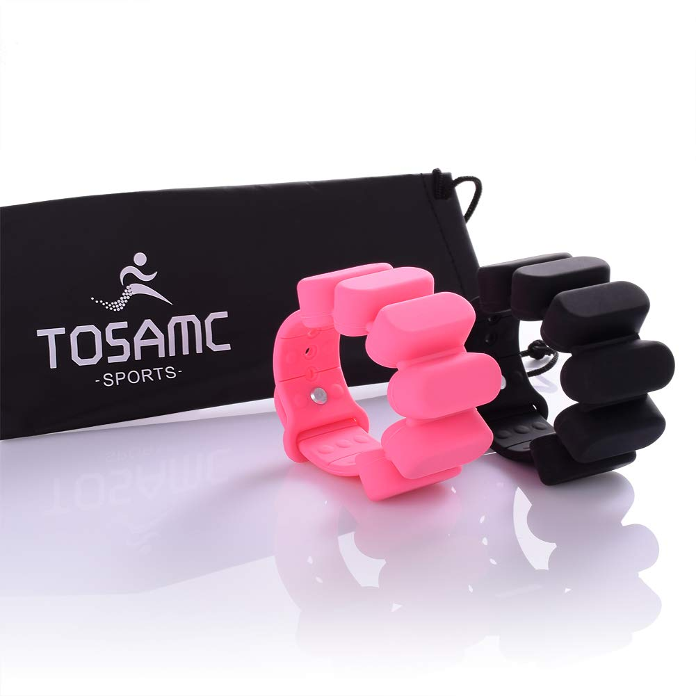 TOSAMC Durable Adjustable Wrist Weights - Wearable Weight Bracelet Intensify Fitness, Exercise, Walking, Jogging, Gymnastics, Aerobics, Yoga, Gym; 2pics Set. (Pink&Red, 1.2LB) by TOSAMC (Image #2)