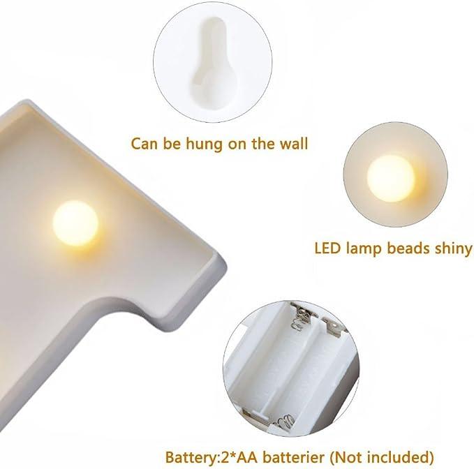 luce bianca calda lampada a LED con numeri illuminati matrimoni ricevimenti in casa funzionamento a batteria 0 per feste 0 1 2 3 4 5 6 7 8 9 Dubens