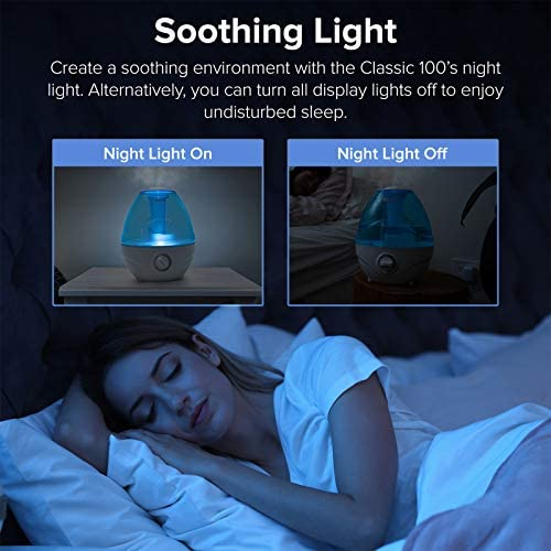 5175PolwtdL. AC - LEVOIT Cool Mist Humidifiers For Bedroom, 2.4L Ultrasonic Air Vaporizer For Babies [BPA Free], 24dB Ultra Quiet, Optional Night Light, Filterless, 0.63gal, Blue