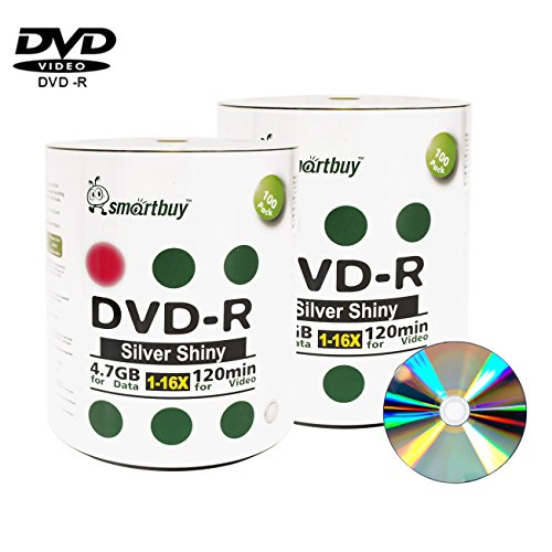 Smartbuy 200-disc 4.7gb/120min 16x DVD-R Shiny Silver Blank Data Recordable Media Disc by Smartbuy