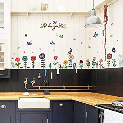 Fiore Uccello Cuore Adesivi Murali Decorazioni Per La Casa ...