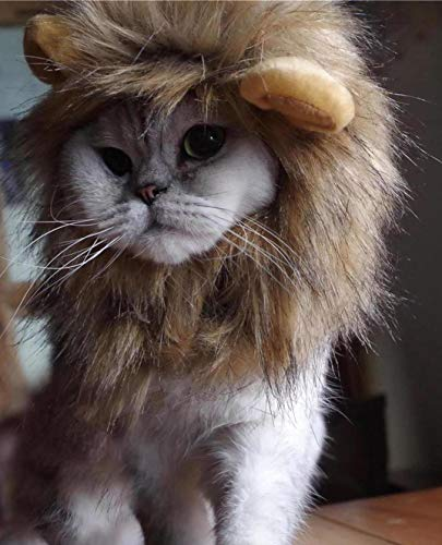 oxe Lion Mane Wig for Cat Costume (Light Brown)]()