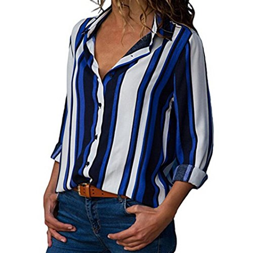 Clearance Women Tops COPPEN Women Casual Cuffed Long Sleeve V-Neck Button up Striped Shirt Blouse Tops ()