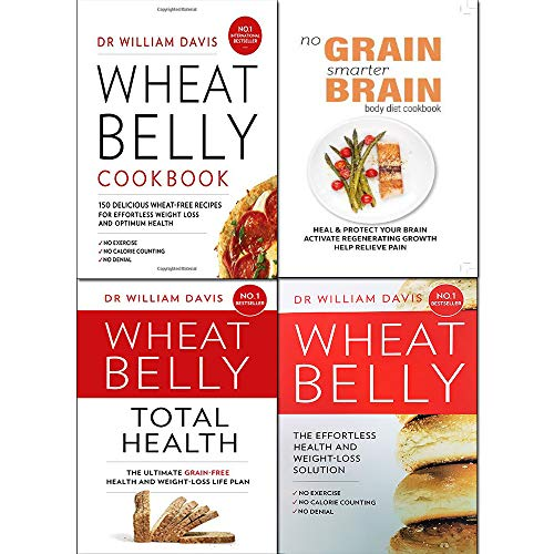 Wheat Belly Total Health [Hardcover],Wheat Belly Cookbook,No Grain, Smarter Brain Body Diet Cookbook 4 Books Collection Set
