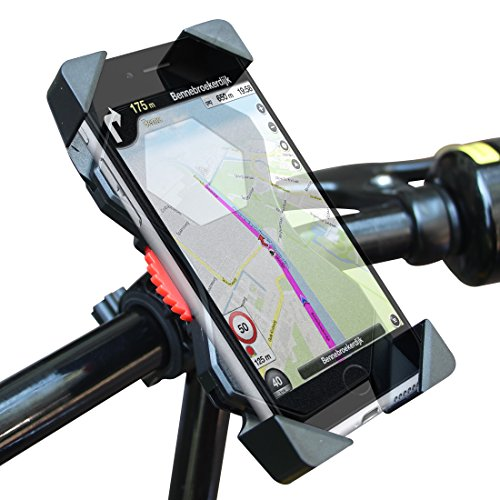 Bike Mount, NOVOLAND Universal Cell Phone Bicycle Handlebar Holder Cradle for iPhone 7 6 6S 5S 5C 5, Samsung Galaxy S7 S6 Edge S5 S4, Nexus and Other Smartphones Up To 7 Inches (Black)