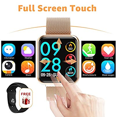 YENISEY Fitness Smartwatch Fitness Tracker Wristband Waterproof Smartwatch with Pedometer Calorie Counter Call Whatsapp Message Reminder Heart Rate Monitor for Mens Womens IOS Andriod Estimated Price £54.99 -