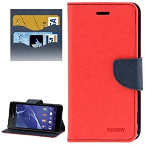 Cross Texture Leather Case with Card Slots & Holder for Sony Xperia M2 / S50h (Red)