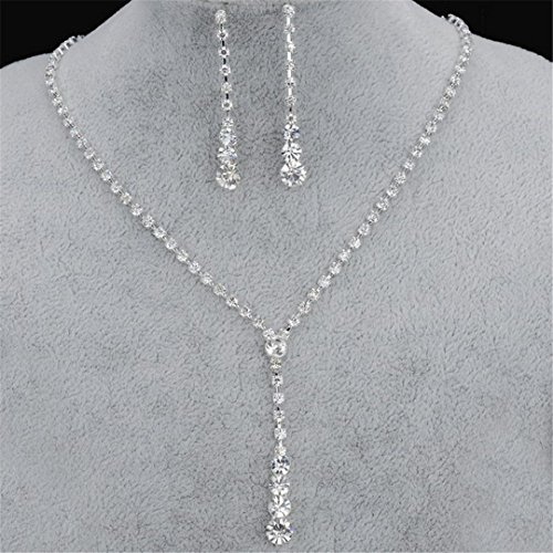 Silver Plated Celebrity Style Drop Crystal Necklace Earrings Set Bridal Bridesmaid Wedding Jewelry Sets Clear